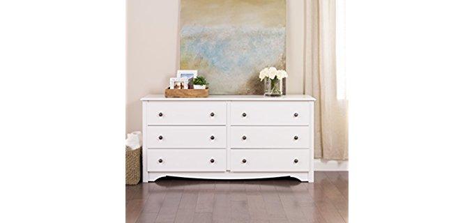 Prepac Monterey - Six Drawer White Bedroom Dresser