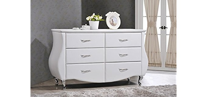 Baxton Studio Enzo - Modern Faux Leather White Dresser