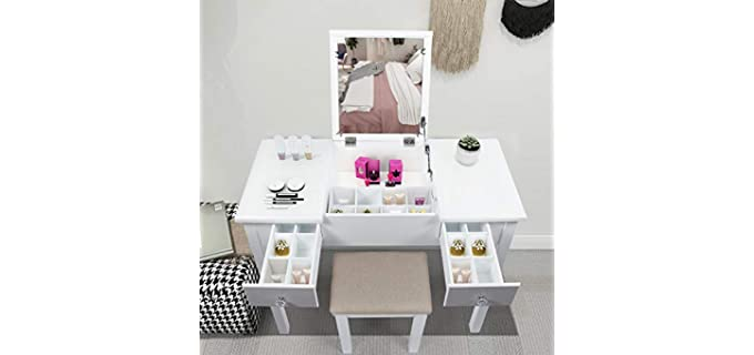 AODAILIHB Vanity - White Dressing Table with Mirror