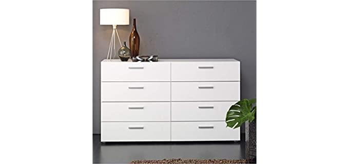 Atlin Designs Modern  - 8 White Drawer Double Dresser