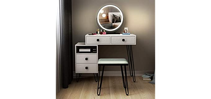 LVSOMT Vanity - White Dresser with Added Mirror