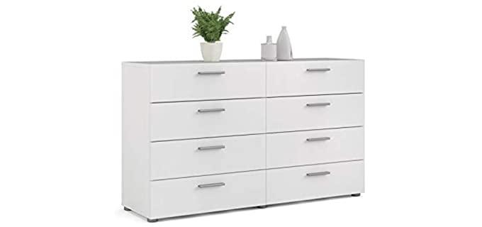 Levan Home Contemporary - 8 Drawer White Bedroom Dresser