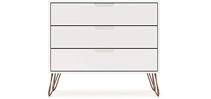Manhattan Comfort Rockefeller - White Three Drawer Bedroom Dresser