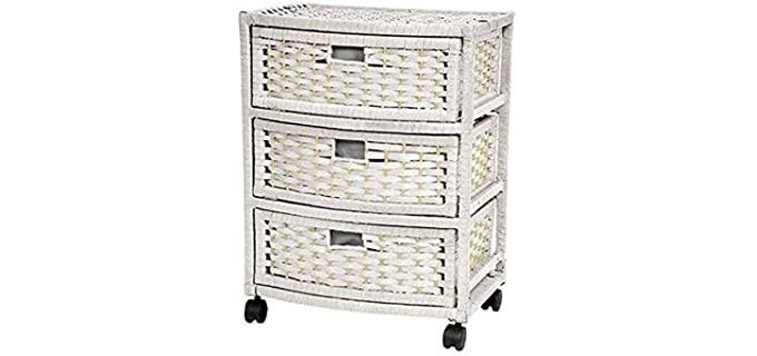 Oriental Furniture Natural - Three White Wicker Dresser