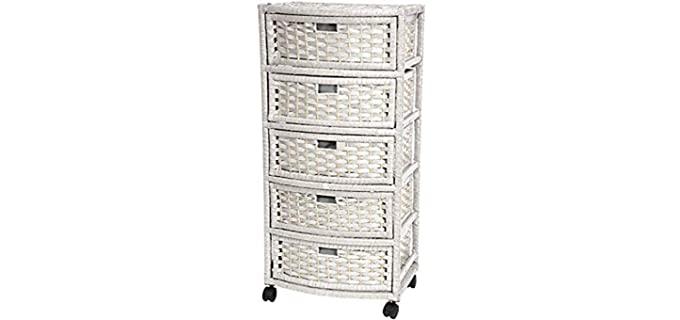Oriental Furniture Natural - White Fiber Wicker Drawer Chest