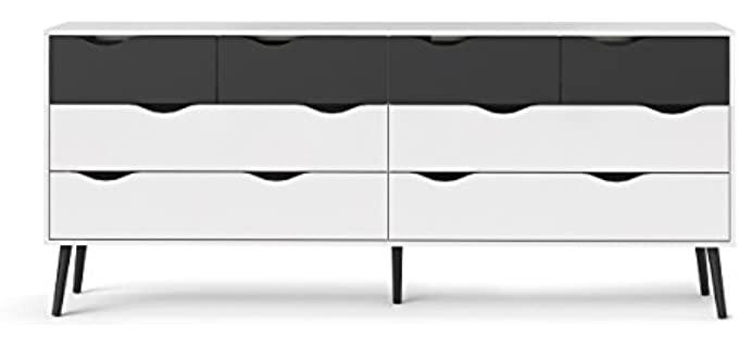 Tvilum Diana - 8 Drawer Black and White Dresser