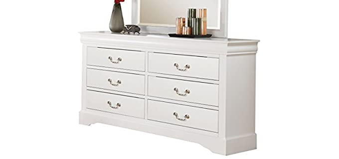 ACME Louis Philippe III - White Dresser with Mirror