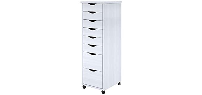 ADEPTUS Roll Cart - Solid Wood, White Eight Drawer Dresser