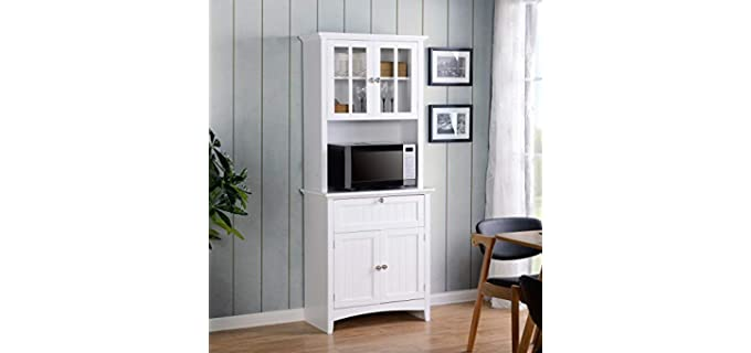 American Furniture Classics Home and Office Buffet - Hutch with Framed Glass Doors and Drawer