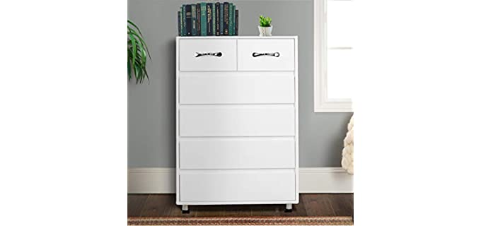 Binrrio 6 Drawers Dresser -  White Modern Drawer Chest