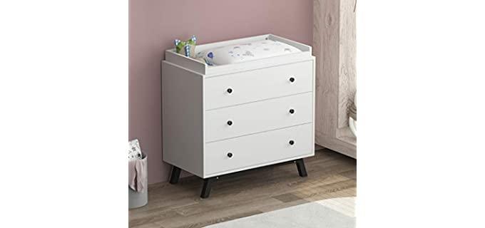 TENXCOL Modern - Three Drawer White Dresser