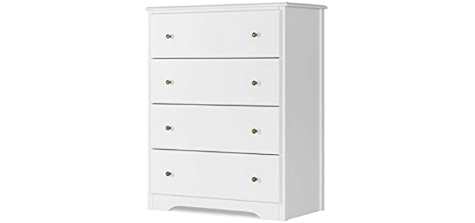 HOMECHO 4 Drawers - Modern Chest of Drawers White