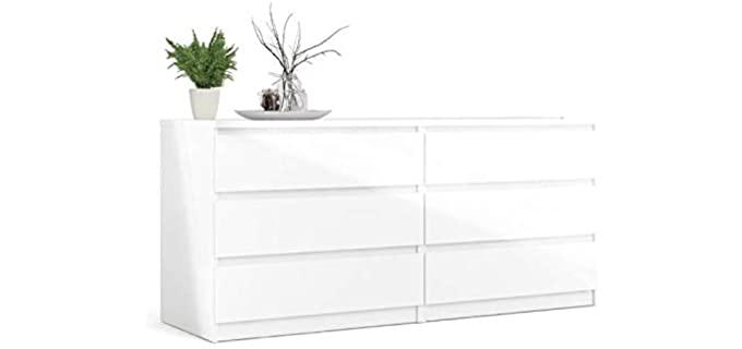 Levan Home 6 Drawer - White Double Bedroom Dresser