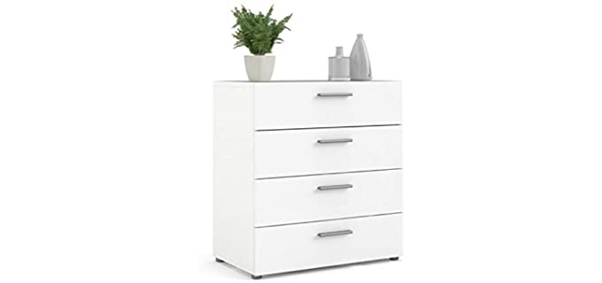 Levan Home Contemporary Style - White 4 Drawer Bedroom Dresser