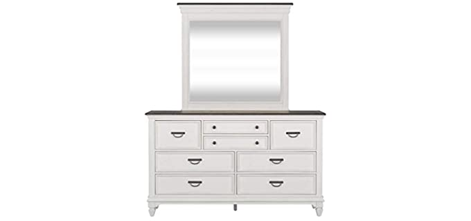 Liberty Furniture Bead Molding - 8 Drawers White Mirrored Dresser