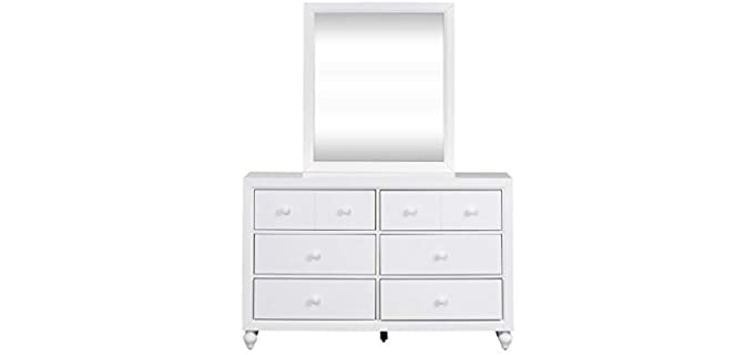 Liberty Furniture Kenlin Drawer Glides - Six White Dresser and Mirror Set
