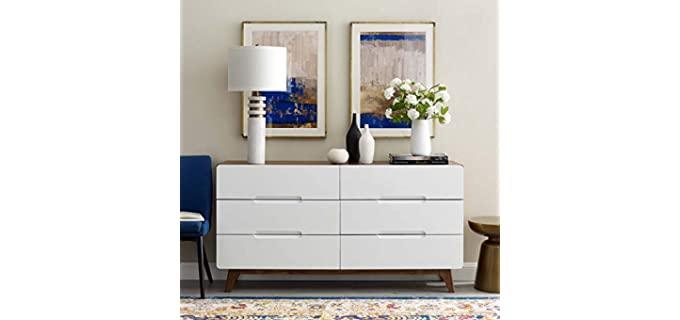 Modway Origin - Modern White 6 Drawer Dresser