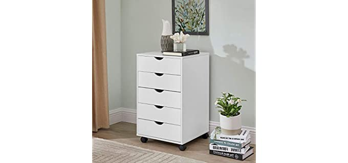 Naomi Home Taylor - White 5 Drawers Cabinet