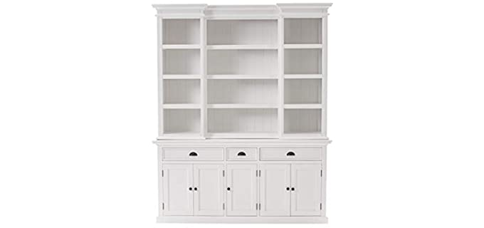 NovaSolo Furniture Halifax Mahogany - Hutch Drawer Dresser in White