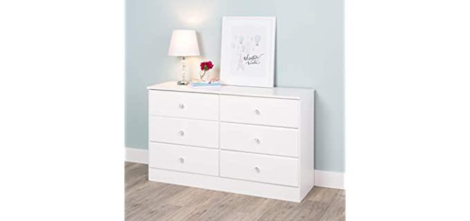 Prepac Astrid Acrylic Knobs - Six Crystal White Drawer Dresser