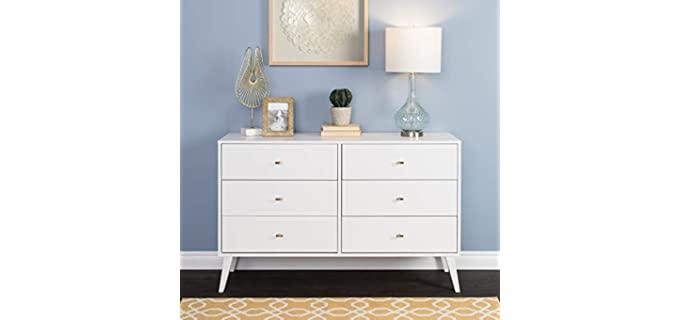 Prepac Milo - Mid Century Modern Dresser in White