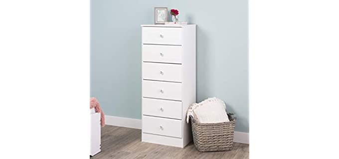 Prepac Astrid Acrylic Knobs - 6-Drawer Tall Chest in Crystal White
