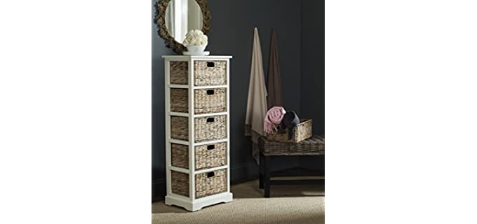 Safavieh American Homes Collection - 5 White Wicker Basket Drawer
