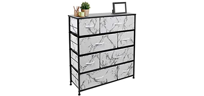 Sorbus Chest Tower Unit - Black and White Dresser with 8 Drawers