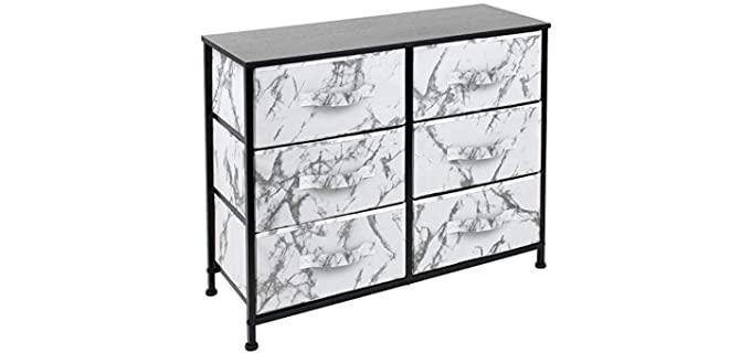 Sorbus Office Organization - Six Drawer Black and White Dresser