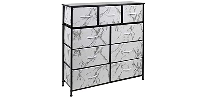 Sorbus Furniture Storage - Black and White Dresser with 9 Drawers