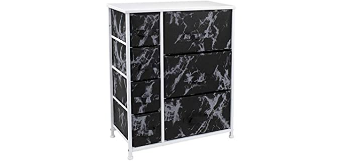 Sorbus Nightstand - Seven Drawer Black and White Dresser
