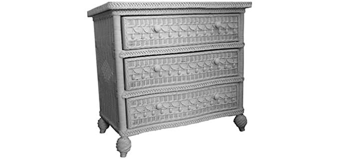 Spice Islands Classic  - White Finish Wicker Drawer Dresser