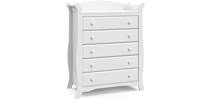 Storkcraft Avalon - Universal 5 Drawer White Dresser