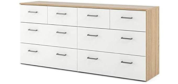 Tvilum Oak Structure - 8 Drawer White Long Dresser