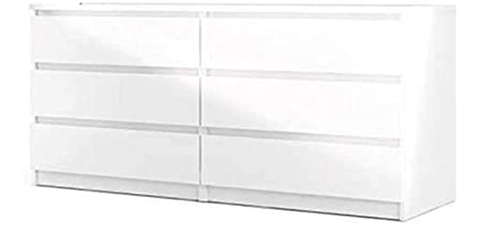 Tvilum Scottsdale - Six drawer White Long Dresser