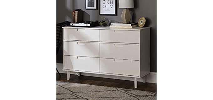 Walker Edison Mid Century - Modern Grooved Handle Wood Dresserr