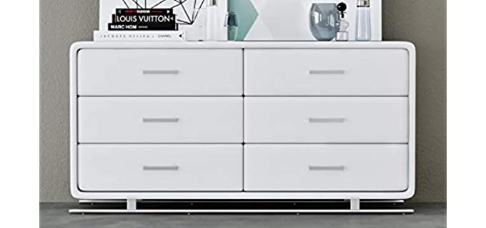 Zuri Vetro Accent Chest - White 6 Long Drawer Dresser